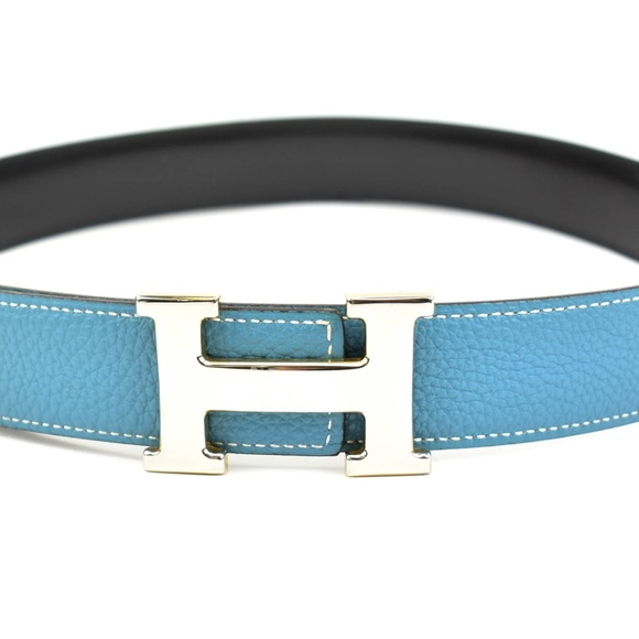 Reversible Leather Belt Sky